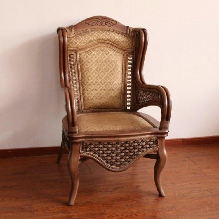 昌盛藤器 真藤家具椅 客厅藤椅三件套 藤编餐桌椅 现代欧式藤椅 实木休闲藤椅