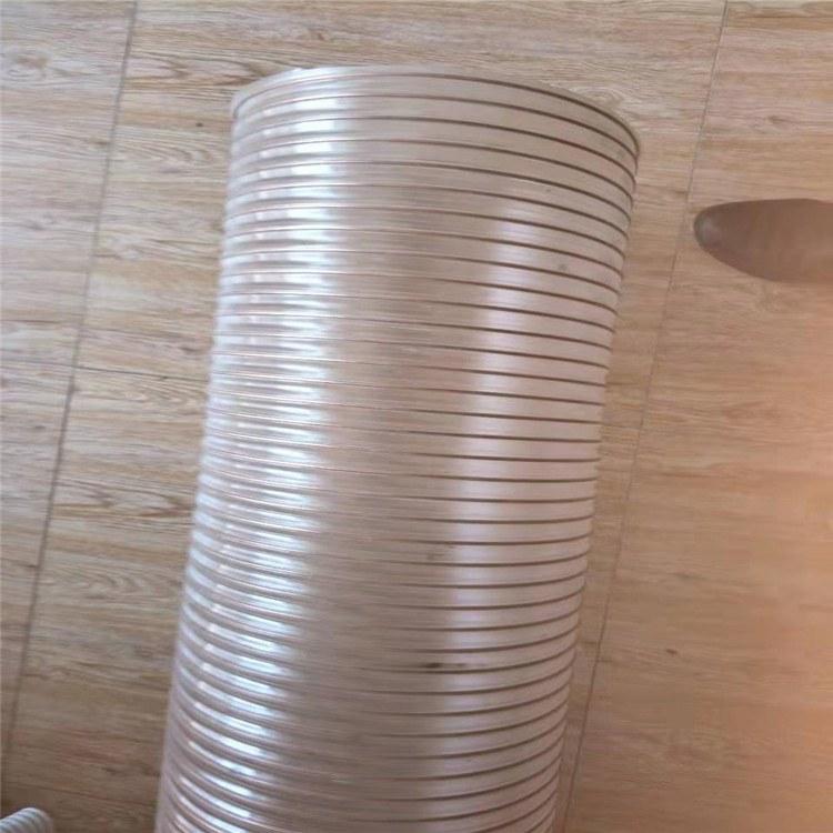 德利螺旋钢丝PU管加强型吸污车用PU软管大口径通风除尘风管价格