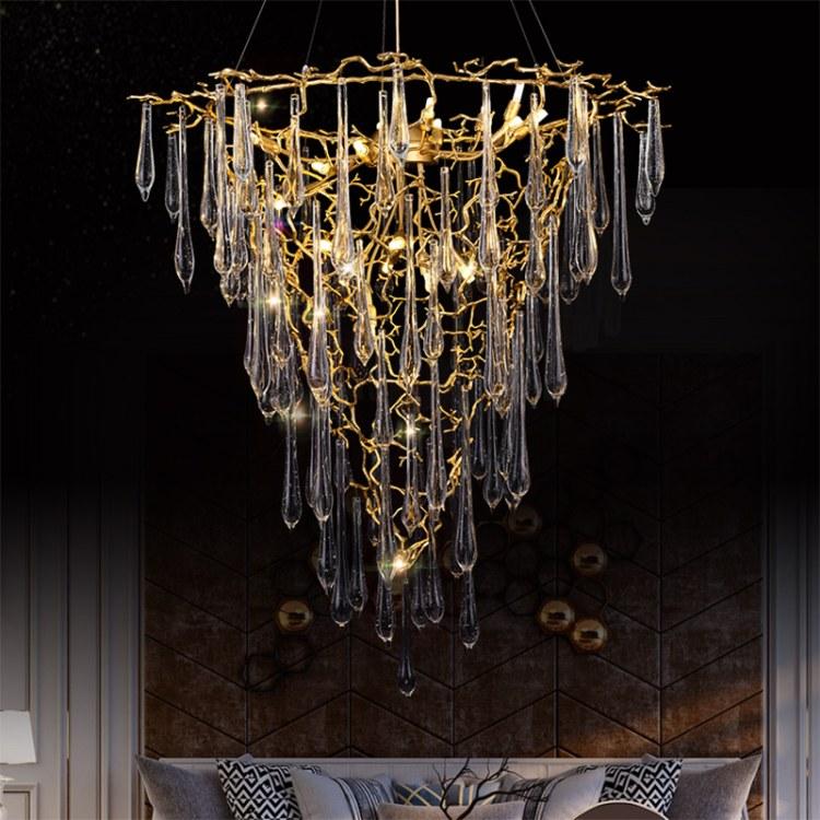 美式吊燈全銅簡約復古客廳燈臥室燈餐廳別墅大廳天貓精靈智能燈具