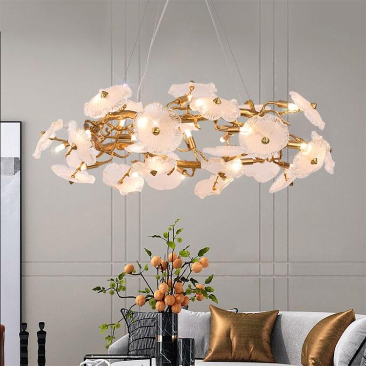 全铜树枝水晶轻奢灯具复式客厅楼梯长吊灯别墅大厅设计师智能灯饰