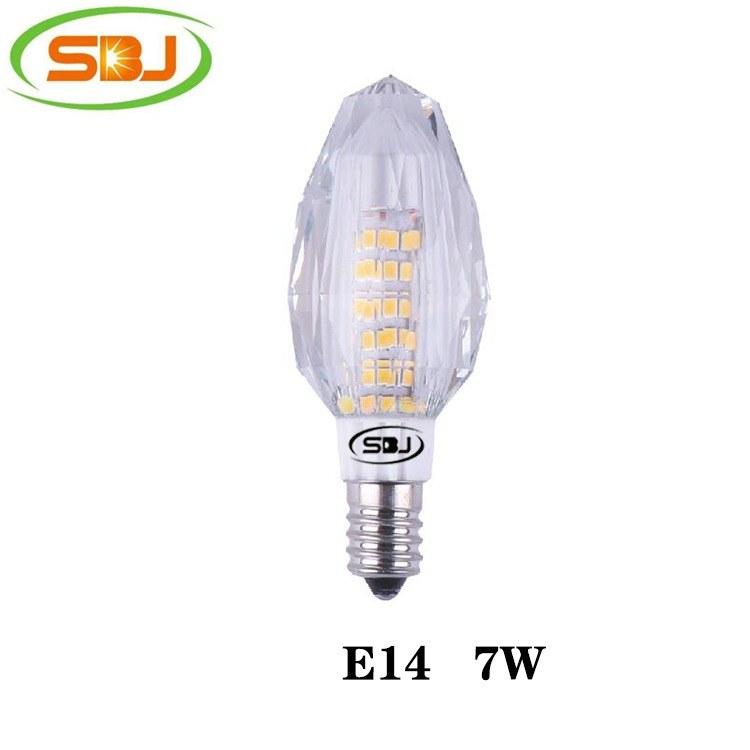 E14 水晶蜡烛灯 led灯 2835 75珠 7W 480lm  高流明,工厂直销