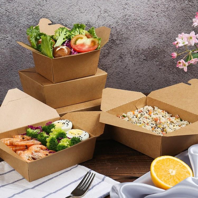 定制牛皮纸饭盒 水果沙拉纸盒便当盒 批发一次性外卖打包快餐盒