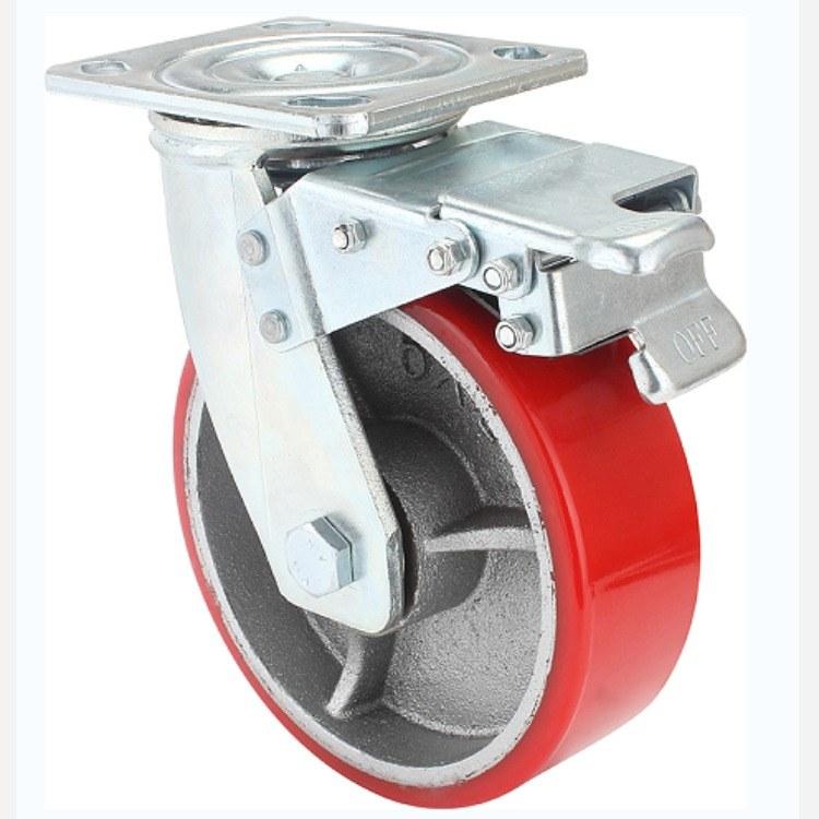 广东重型脚轮批发 6寸8寸万向铁芯PU轮厂家直销