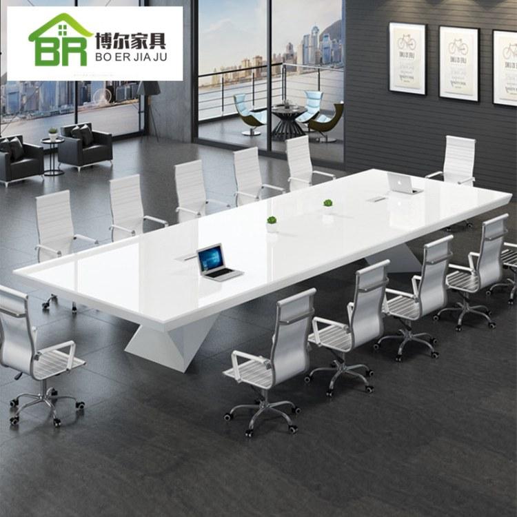 办公家具 烤漆会议桌 长条桌 白色会议桌 开会大小型桌椅组合 厂家直销