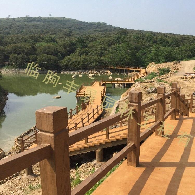 丰景园林 专业水泥栏杆 景观景区水泥仿木护栏 河边仿木栏杆 河堤草坪混凝土仿木桩 厂家直销