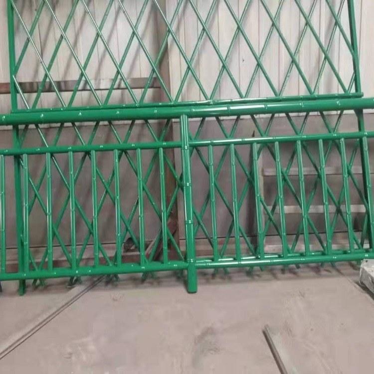 广州世腾 厂家热销公园景区不锈钢仿竹篱笆装饰护栏 草绿色篱笆式仿竹护栏 支持订做