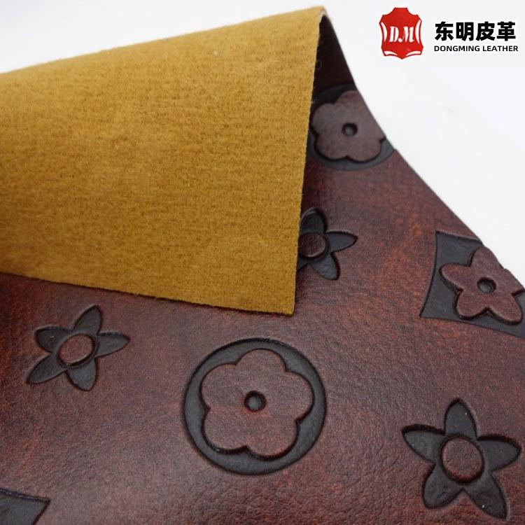 压变pu皮革面料 热压变色套色油皮皮料 环保箱包装帧装饰复古皮革