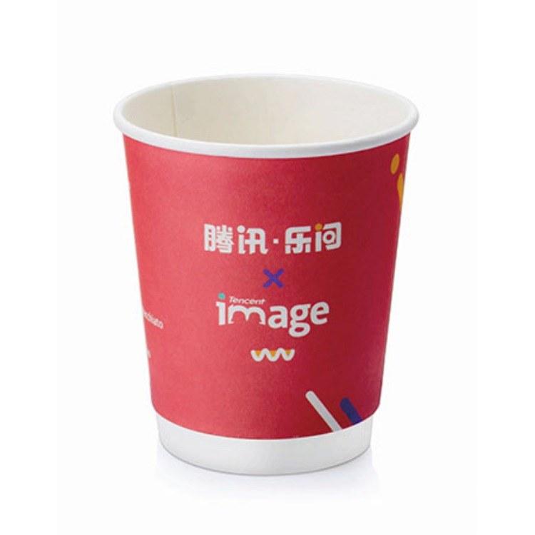 咖啡奶茶杯 加厚一次性纸杯 隔热 防烫杯定制logo 深圳直销8盎司欧版中空杯
