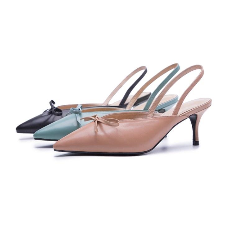 2019新款高跟鞋细跟尖头真皮中空时尚女式凉鞋欧美女鞋生产厂家