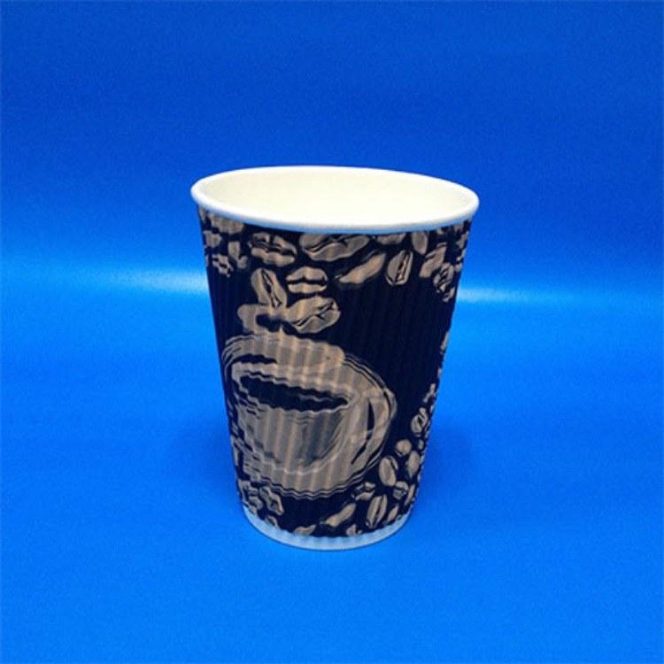 咖啡奶茶杯 加厚一次性纸杯 隔热 防烫杯定制logo 深圳直销10盎司瓦楞杯