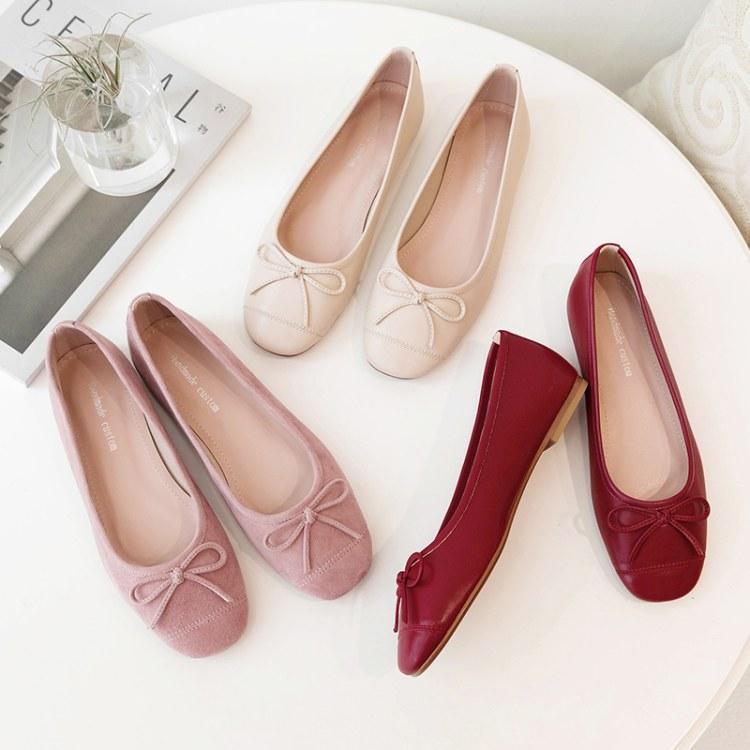 秋季新款方头女士单鞋 一脚蹬真皮懒人鞋 女鞋生产厂家直销