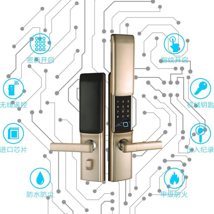 家用全自动C级锁芯智能指纹刷卡密码锁防盗电子门锁