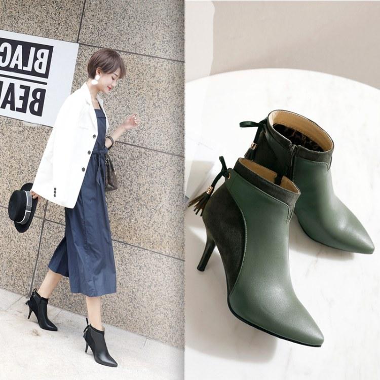 时尚简约高跟短靴 马丁靴 高跟女鞋 拉链及踝短靴子 女鞋生产厂家直销