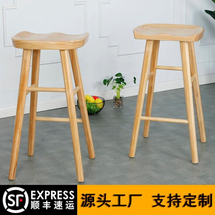 欣百恒实木酒吧椅高脚凳前台椅尺寸颜色材质订做工厂直销全国发货