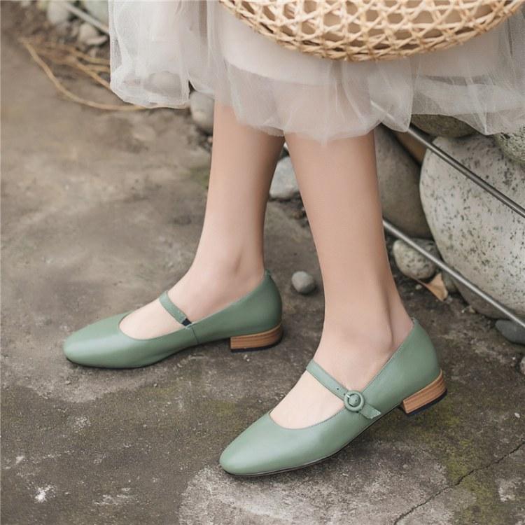 2019春夏文艺女单鞋圆头扣带学院风浅绿色真皮复古粗跟玛丽珍女鞋