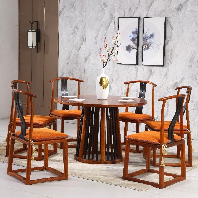 協藝家具紅木餐桌 自在工坊深圳餐桌定制六人餐臺中式