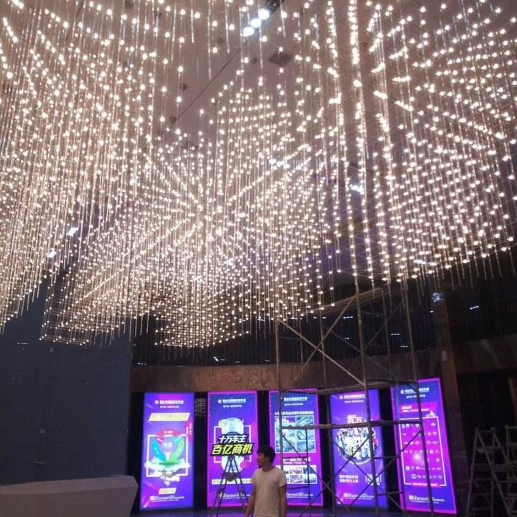 高端酒店大堂光立方吊燈展示廳商場中空滿天星燈會所KTV燈具定制