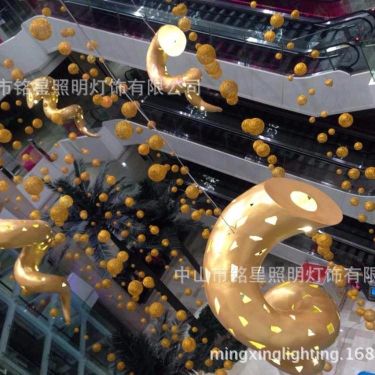 超市中空天井裝飾鋁絲鋁線球燈商場中庭大吊飾酒店布置展覽吊飾廠