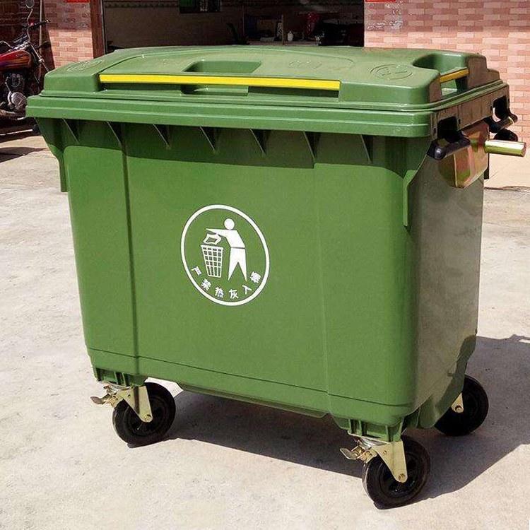 移动钢制垃圾箱 恒洋厂家供应 移动垃圾箱 可定制安装