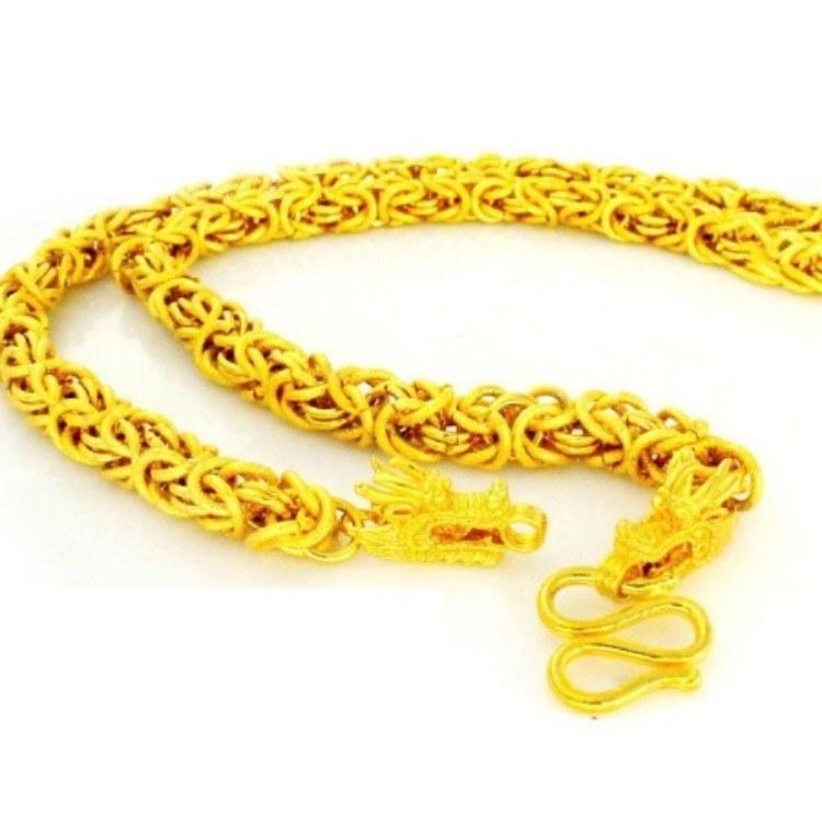 沙金項鏈男24k久不掉色歐幣黃金色沙金首飾越南男士項鏈