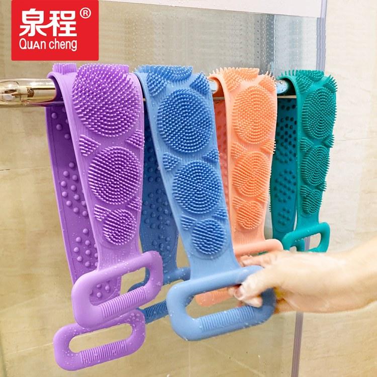 新款硅胶洗澡刷沐浴巾加厚双面去死皮长条拉背搓背巾硅胶厂家直销