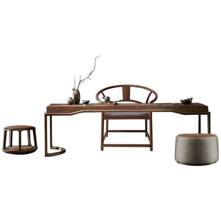 广州实木茶台厂家专业定制    中式接待室客厅办公室榆木白蜡木茶桌椅组合