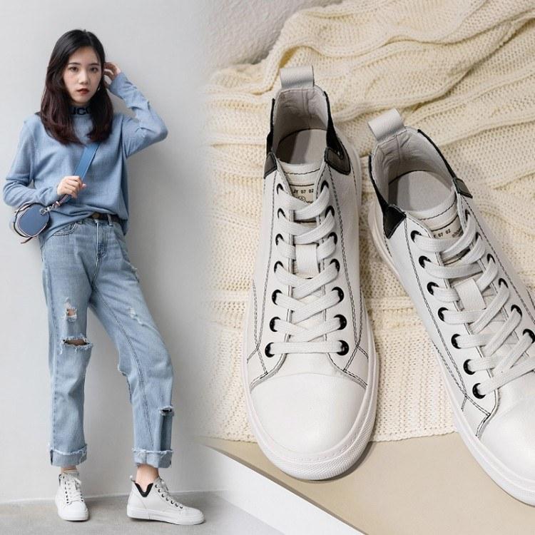 高帮皮质板鞋 学生韩版百搭鞋 2019新款高帮球鞋 黑色中性板鞋