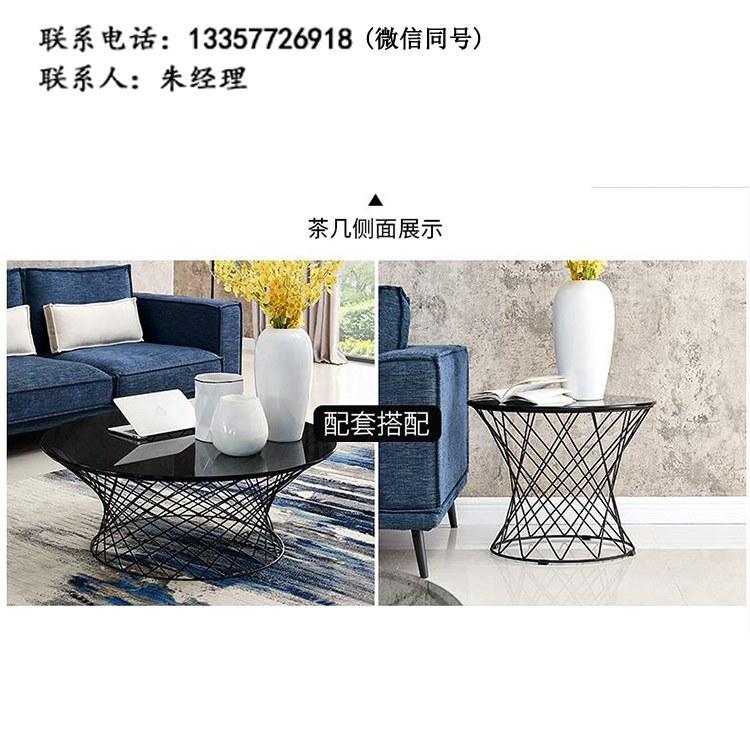 厂家定制现代简约餐厅圆桌洽谈桌接待桌双人位咖啡桌钢架茶几 批发南京办公家具XY-08
