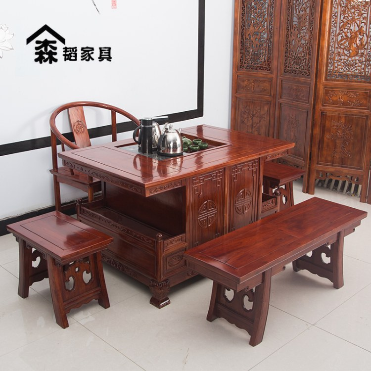 中式茶桌椅组合小凳子实木简约现代仿古办公室休闲家用禅意功夫森韬系列家具+13