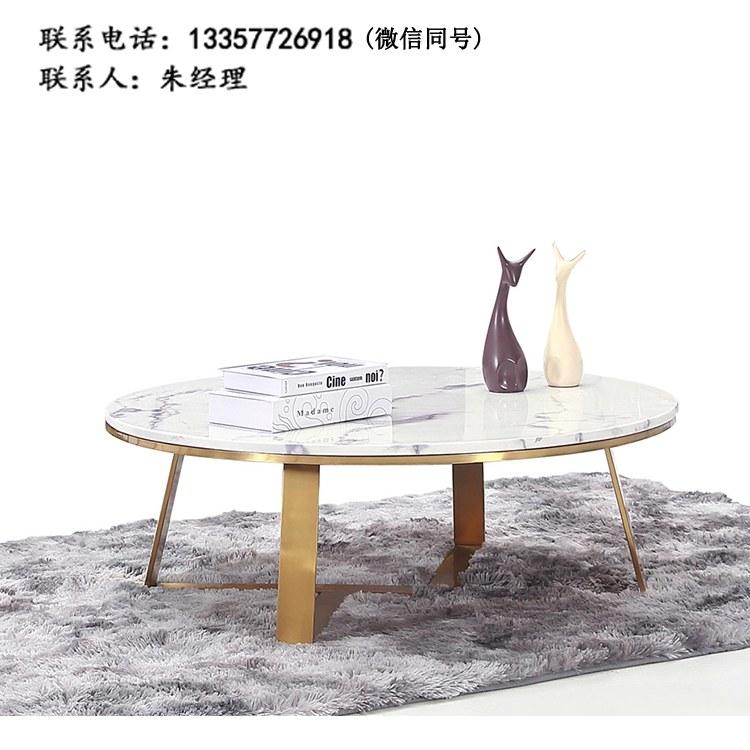厂家定制现代简约餐厅圆桌洽谈桌接待桌双人位咖啡桌钢架茶几 批发南京办公家具XY-11