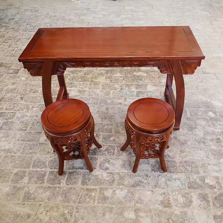 书法桌 实木 古典中式 北方老榆木书法桌椅