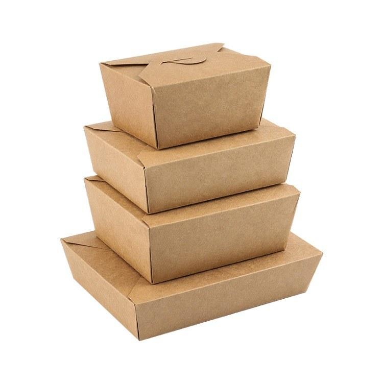 盒盒美纸餐盒  牛皮纸餐盒 一次性外卖快餐盒牛皮白卡纸便当饭盒 加印LOGO 图案