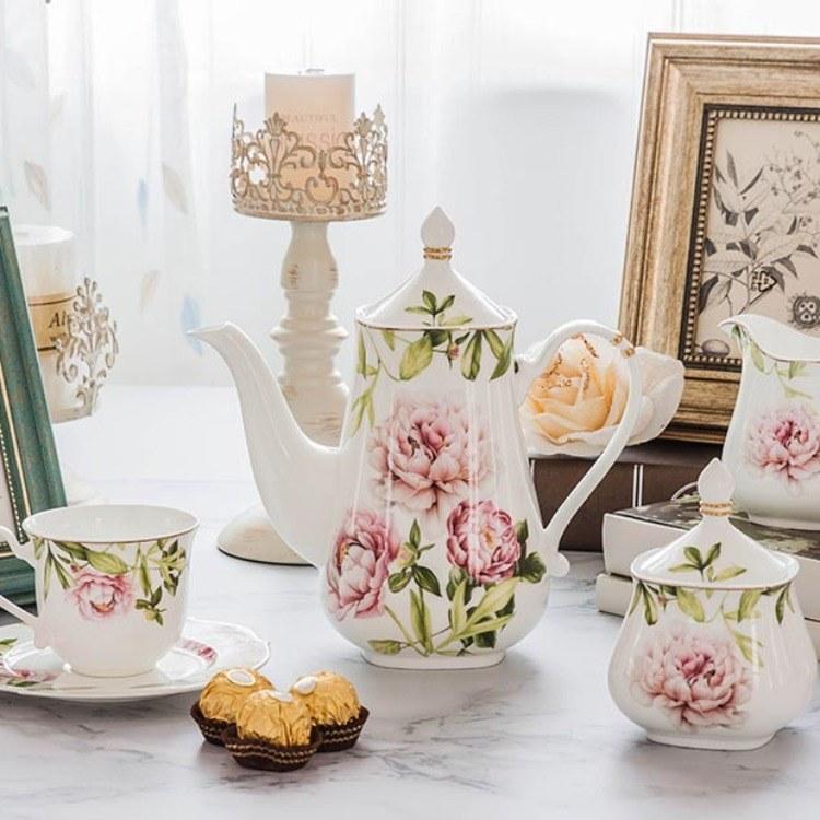 丝绸之花15头茶具陶瓷盘陶瓷碗高档釉中色釉杯