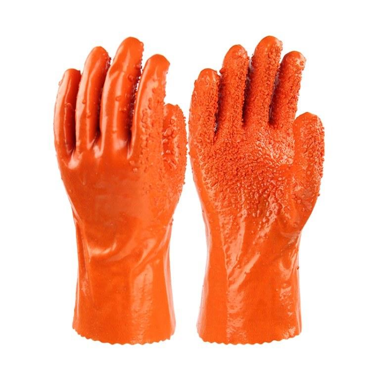 金来168耐酸碱手套 耐油防污化工机械科研耐磨止滑浸塑劳保手套