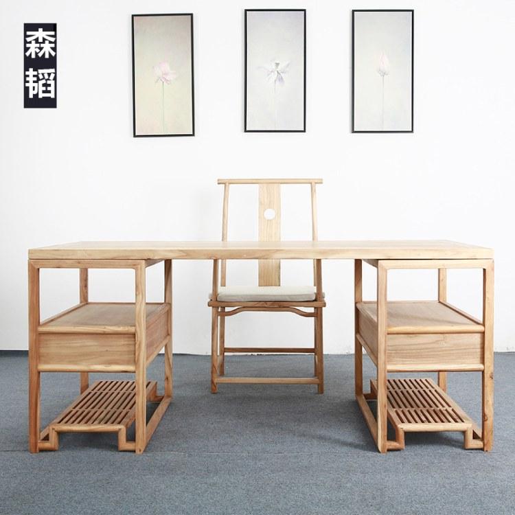 新中式写字台书桌简约家用办公椅子组合实木中式老榆木轻奢禅意森韬系列家具009