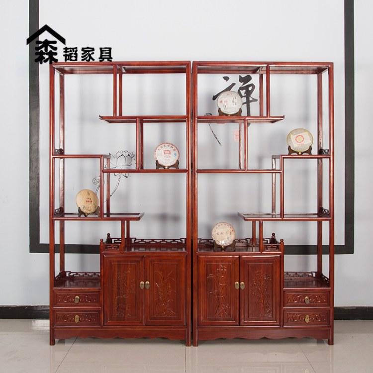 实木博古架北方老榆木展示架中式古典家具简约新中式带门带屉00