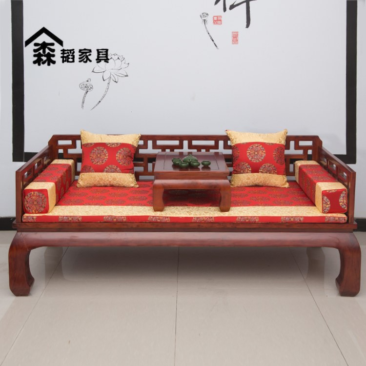 古典罗汉床实木新中式明清榆木床榻家用小户型客厅沙发组合禅意00
