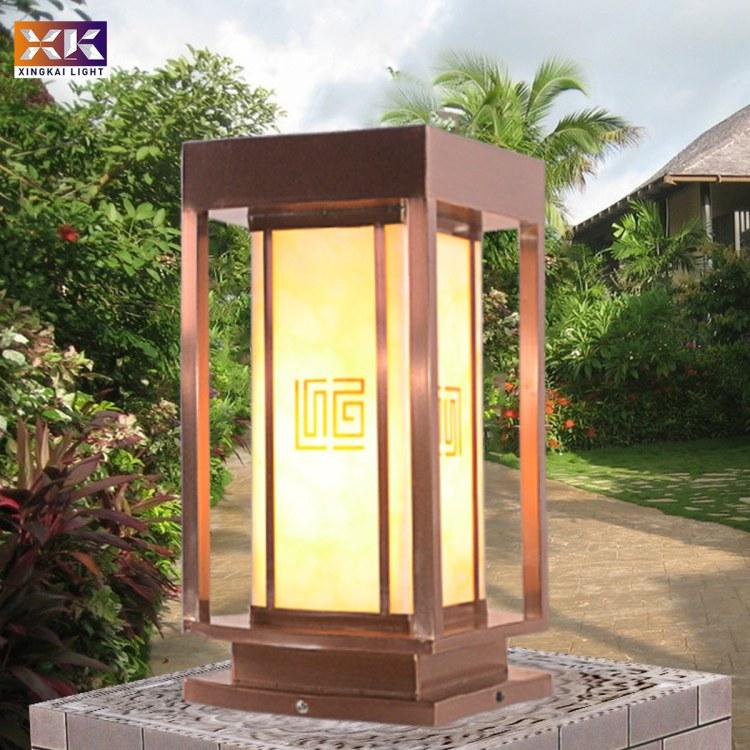 镀铜拉丝柱头灯  兴凯照明镀铜拉丝柱头灯厂家定制