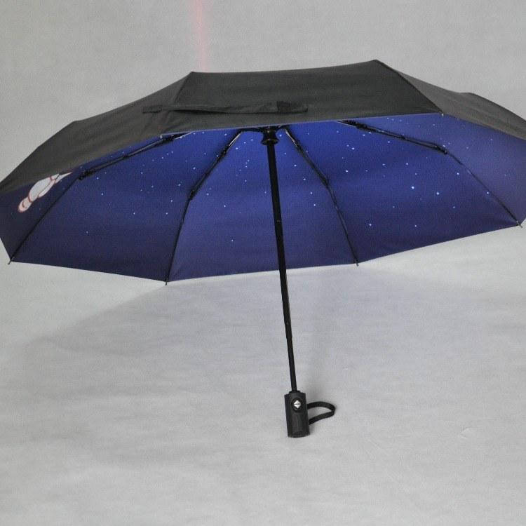 【艺都伞厂】全自动黑胶遮阳伞可定制logo创意八骨三折伞纯色晴雨两用伞