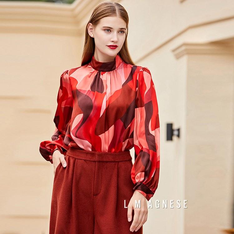 简爱格妮斯国内轻奢女装品牌专柜正品印花上衣