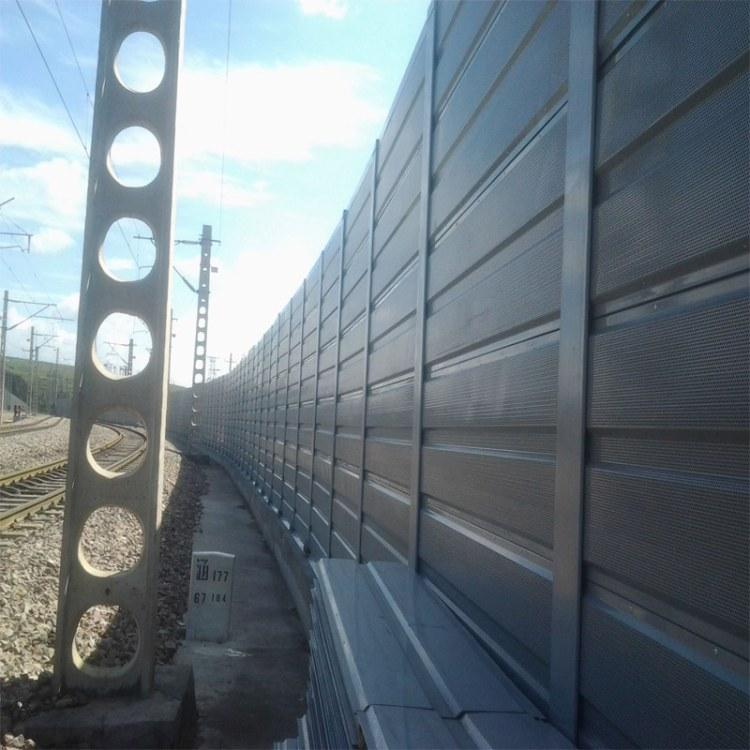 河北辛集铁路隔音墙金属板冲孔镀锌喷塑不生锈铁路隔音墙