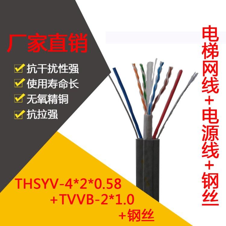 长沙丰旭电梯网线专用非屏蔽六类通讯电缆+2芯电源 电梯六类随行网络电源线