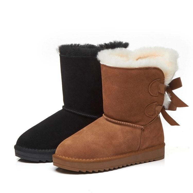 2019新款羊皮毛一体雪地靴女鞋棉鞋保暖防水蝴蝶结短筒短靴女鞋厂家直销