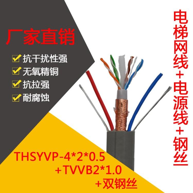长沙丰旭  厂家批发 电梯专用超五类屏蔽网线带2芯电源带钢丝 电梯随行网线