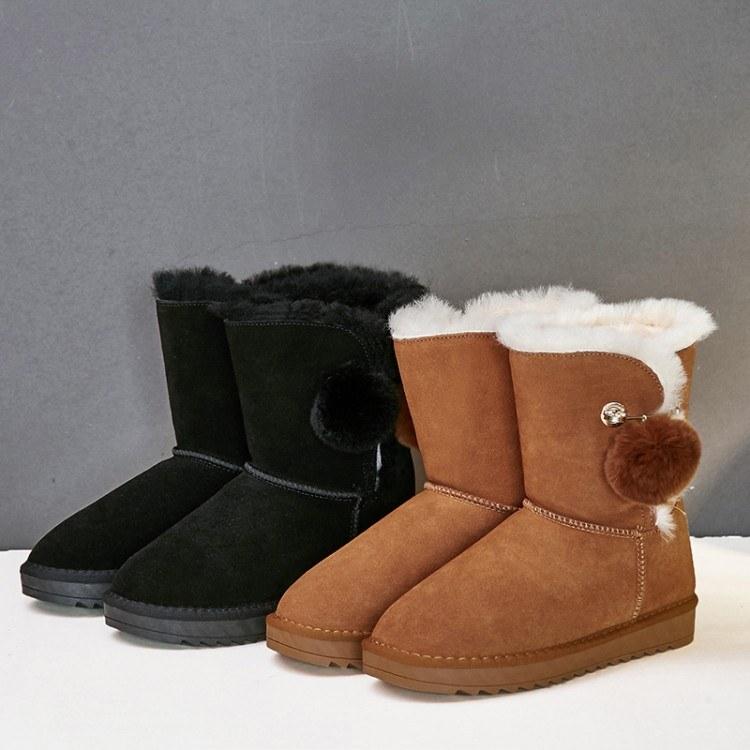 新款雪地靴女冬羊皮毛一体保暖加绒中筒棉鞋加厚学生真皮短筒女鞋厂家直销