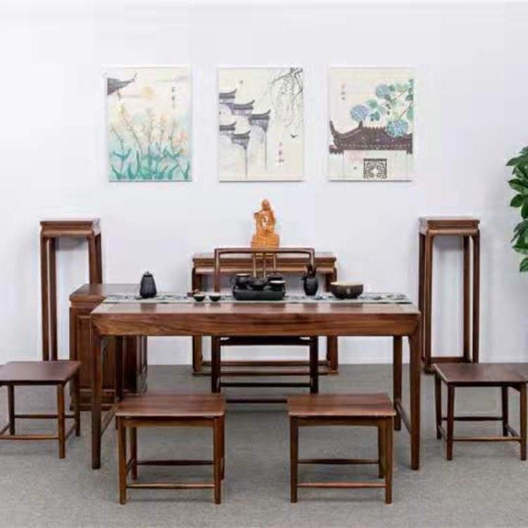 茶桌椅组合  北美黑胡桃木实木客厅茶几简约现代办公室茶几新中式茶桌家用小茶台