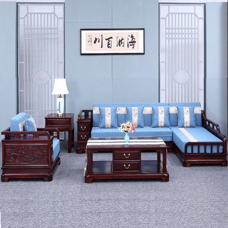 红木家具贵妃东非酸枝木中式真皮新中式布艺实木沙发组合客厅整装