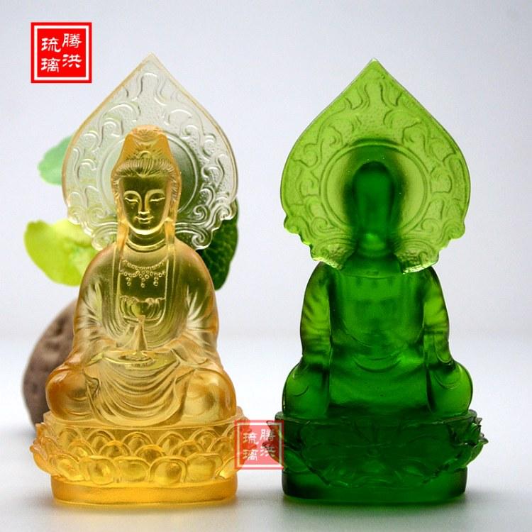 彩色观音小佛像随身供养迷你小号观音菩萨佛像 寺庙善缘观世音菩萨背光法相