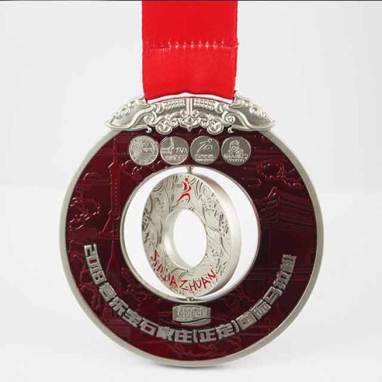 定制国际马拉松奖牌旋转奖牌镂空烤漆奖牌完赛纪念荣誉奖牌