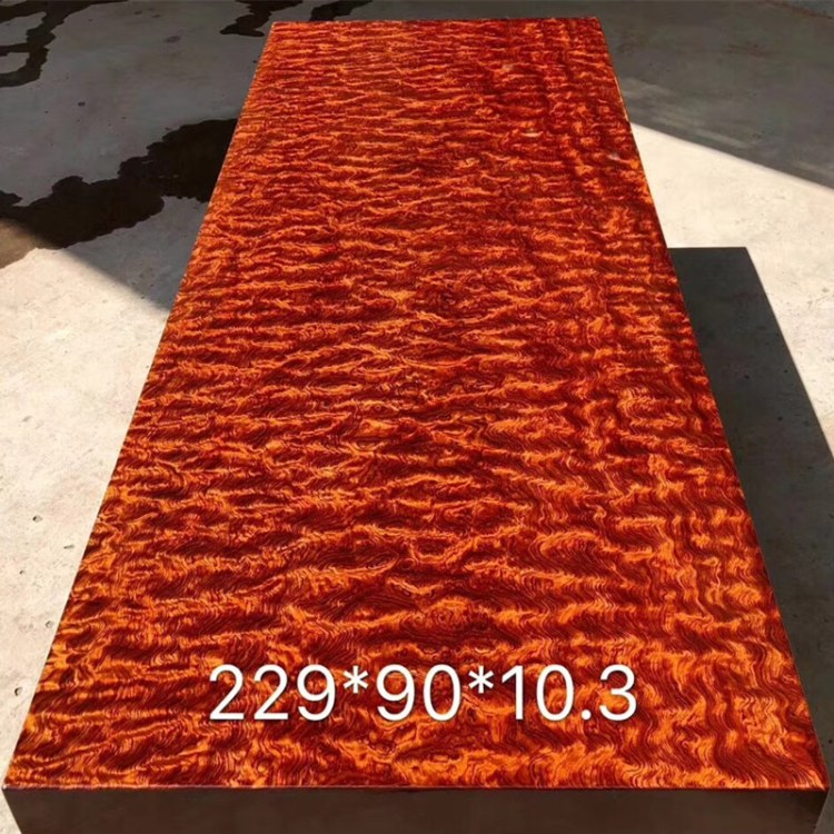 巴花实木大板原木红木茶桌办公餐桌水波纹鬼脸2米自然边